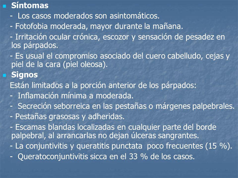 Síntomas - Los casos moderados son asintomáticos. - Fotofobia moderada, mayor durante la mañana. - Irritación ocular crónica, escozor y sensación de p