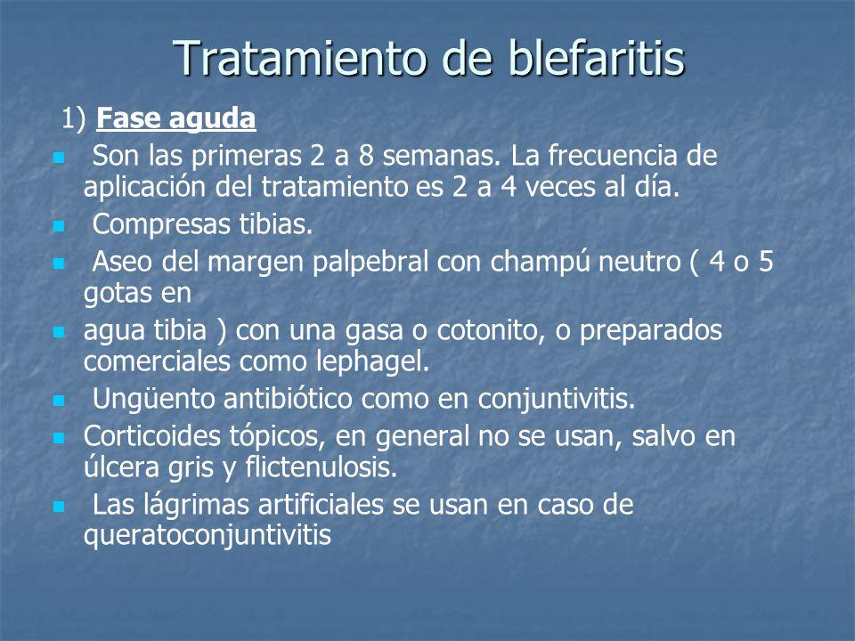 Tratamiento de blefaritis 1) Fase aguda Son las primeras 2 a 8 semanas. La frecuencia de aplicación del tratamiento es 2 a 4 veces al día. Compresas t