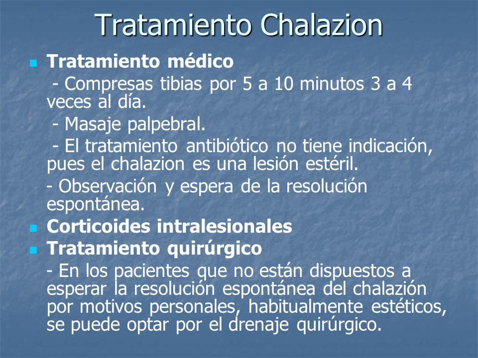 Tratamiento Chalazion Tratamiento médico - Compresas tibias por 5 a 10 minutos 3 a 4 veces al día. - Masaje palpebral. - El tratamiento antibiótico no