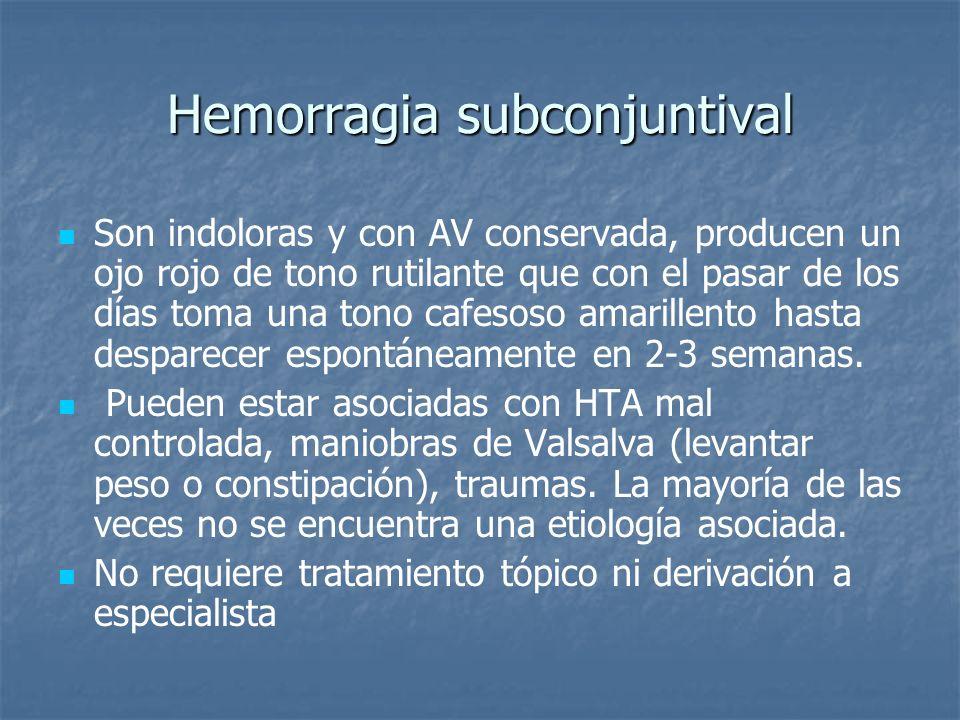 Hemorragia subconjuntival Son indoloras y con AV conservada, producen un ojo rojo de tono rutilante que con el pasar de los días toma una tono cafesos