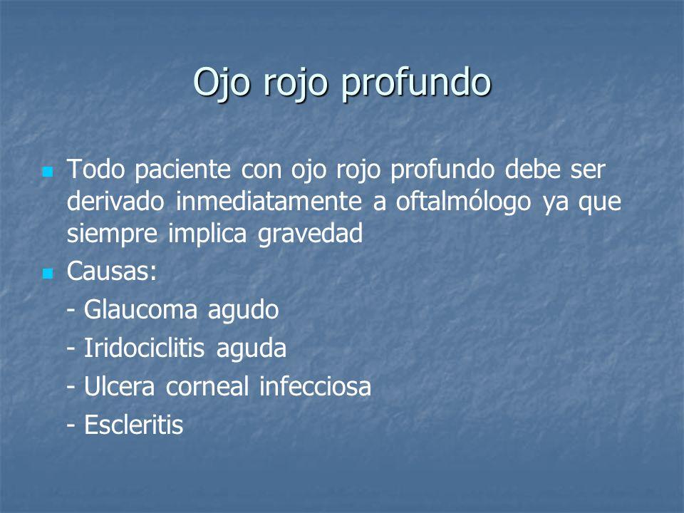 Ojo rojo profundo Todo paciente con ojo rojo profundo debe ser derivado inmediatamente a oftalmólogo ya que siempre implica gravedad Causas: - Glaucom