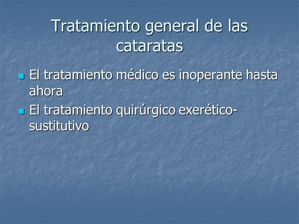 Tratamiento general de las cataratas El tratamiento médico es inoperante hasta ahora El tratamiento médico es inoperante hasta ahora El tratamiento qu