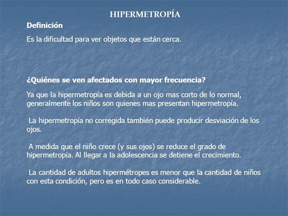 HIPERMETROPÍA Es la dificultad para ver objetos que están cerca. Ya que la hipermetropía es debida a un ojo mas corto de lo normal, generalmente los n