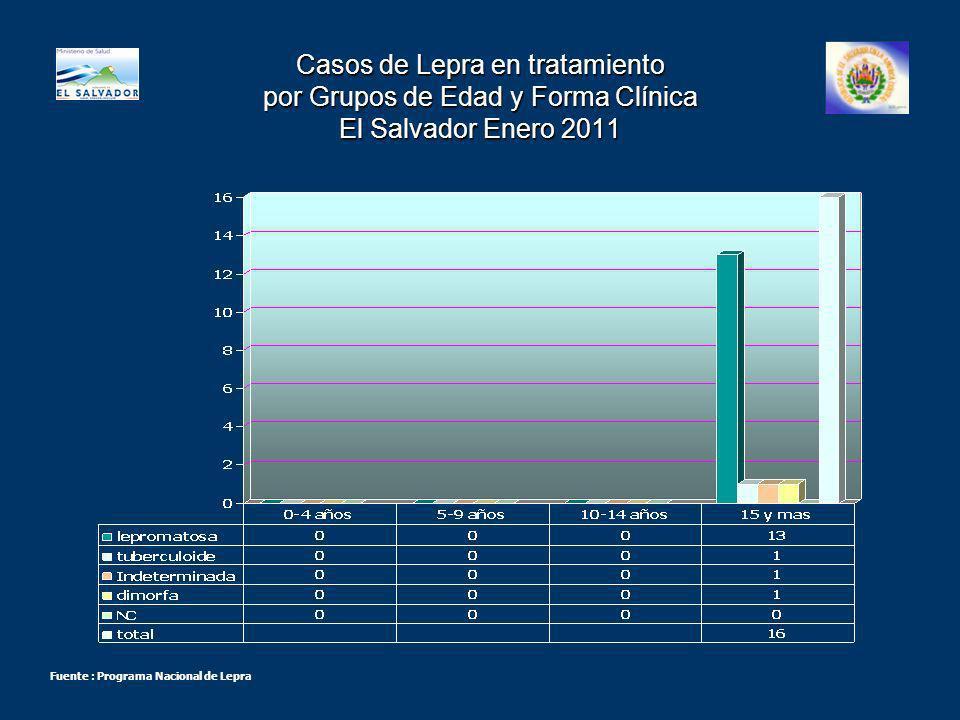 Casos de Lepra en tratamiento por Grupos de Edad y Forma Clínica El Salvador Enero 2011 Fuente : Programa Nacional de Lepra