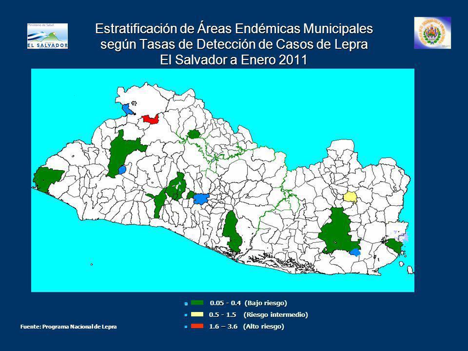 Estratificación de Áreas Endémicas Municipales según Tasas de Detección de Casos de Lepra El Salvador a Enero 2011 0.05 - 0.4 (Bajo riesgo) 0.05 - 0.4