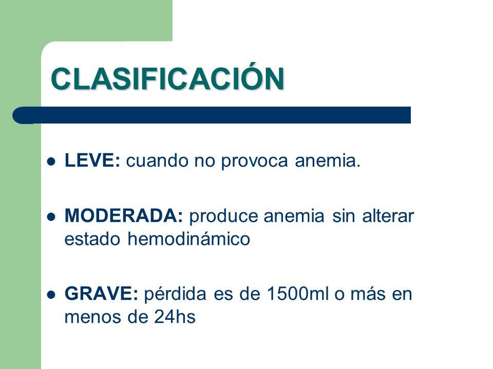 CLASIFICACIÓN LEVE: cuando no provoca anemia. MODERADA: produce anemia sin alterar estado hemodinámico GRAVE: pérdida es de 1500ml o más en menos de 2