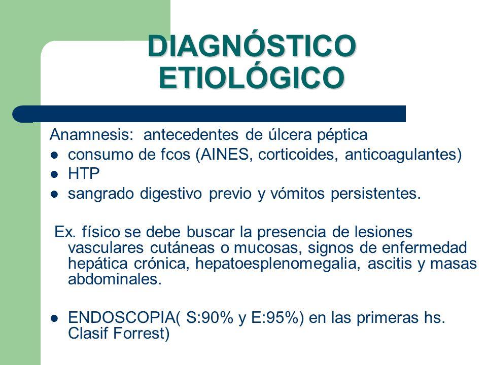 DIAGNÓSTICO ETIOLÓGICO Anamnesis: antecedentes de úlcera péptica consumo de fcos (AINES, corticoides, anticoagulantes) HTP sangrado digestivo previo y
