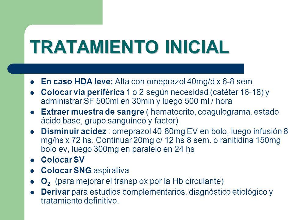 TRATAMIENTO INICIAL En caso HDA leve: Alta con omeprazol 40mg/d x 6-8 sem Colocar vía periférica 1 o 2 según necesidad (catéter 16-18) y administrar S