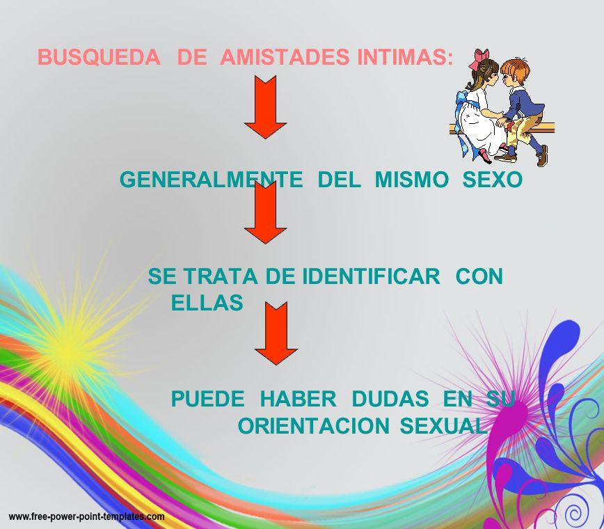 BUSQUEDA DE AMISTADES INTIMAS: GENERALMENTE DEL MISMO SEXO SE TRATA DE IDENTIFICAR CON ELLAS PUEDE HABER DUDAS EN SU ORIENTACION SEXUAL