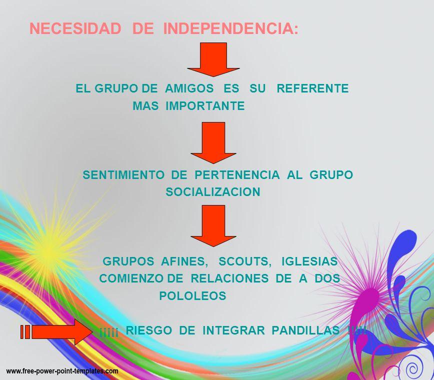 NECESIDAD DE INDEPENDENCIA: EL GRUPO DE AMIGOS ES SU REFERENTE MAS IMPORTANTE SENTIMIENTO DE PERTENENCIA AL GRUPO SOCIALIZACION GRUPOS AFINES, SCOUTS,