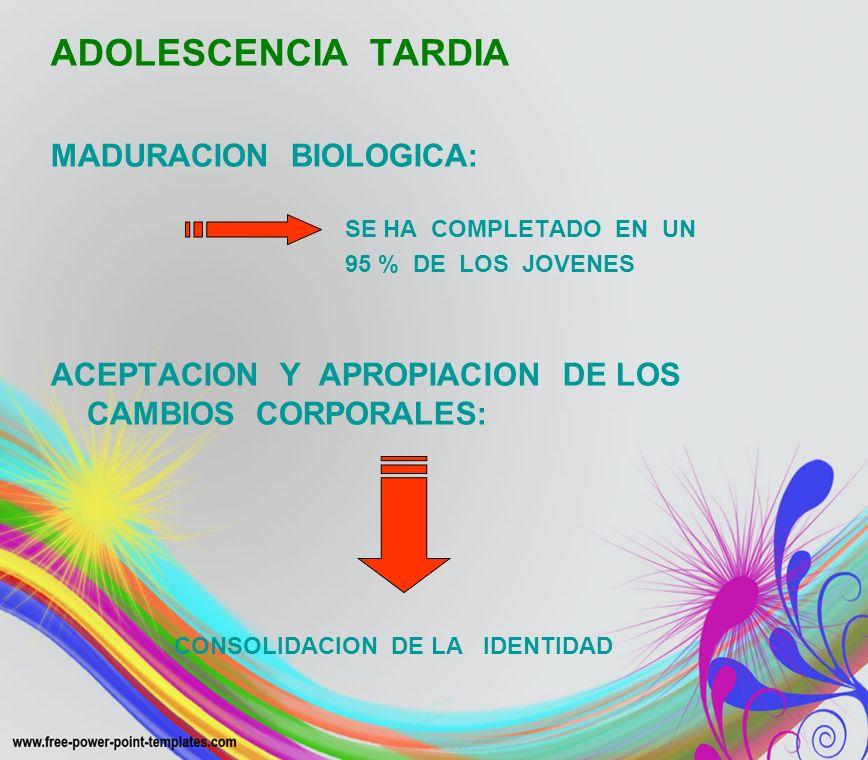 ADOLESCENCIA TARDIA MADURACION BIOLOGICA: SE HA COMPLETADO EN UN 95 % DE LOS JOVENES ACEPTACION Y APROPIACION DE LOS CAMBIOS CORPORALES: CONSOLIDACION