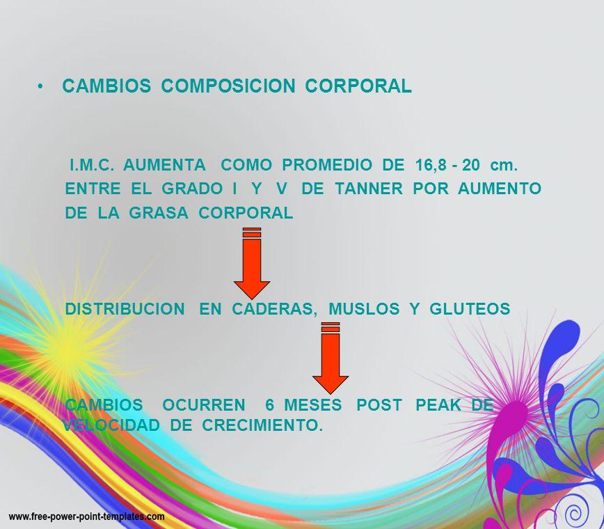 CAMBIOS COMPOSICION CORPORAL I.M.C. AUMENTA COMO PROMEDIO DE 16,8 - 20 cm. ENTRE EL GRADO I Y V DE TANNER POR AUMENTO DE LA GRASA CORPORAL DISTRIBUCIO
