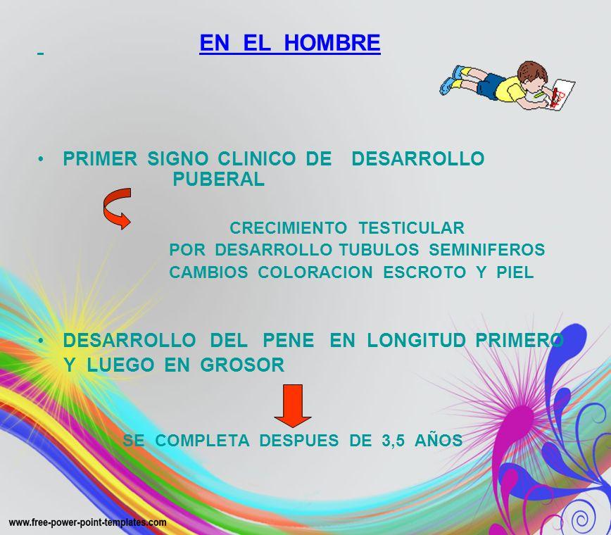 EN EL HOMBRE PRIMER SIGNO CLINICO DE DESARROLLO PUBERAL CRECIMIENTO TESTICULAR POR DESARROLLO TUBULOS SEMINIFEROS CAMBIOS COLORACION ESCROTO Y PIEL DE