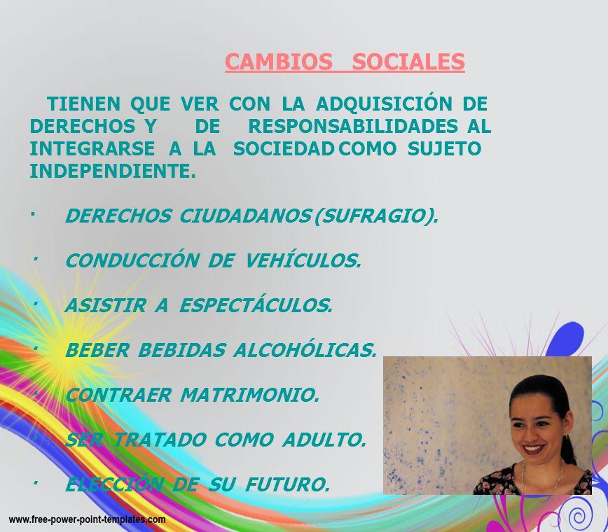 CAMBIOS SOCIALES TIENEN QUE VER CON LA ADQUISICIÓN DE DERECHOS Y DE RESPONSABILIDADES AL INTEGRARSE A LA SOCIEDAD COMO SUJETO INDEPENDIENTE. · DERECHO