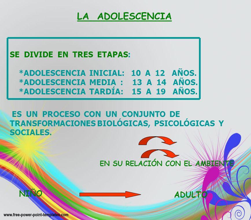 LA ADOLESCENCIA. SE DIVIDE EN TRES ETAPAS: *ADOLESCENCIA INICIAL: 10 A 12 AÑOS. *ADOLESCENCIA MEDIA : 13 A 14 AÑOS. *ADOLESCENCIA TARDÍA: 15 A 19 AÑOS