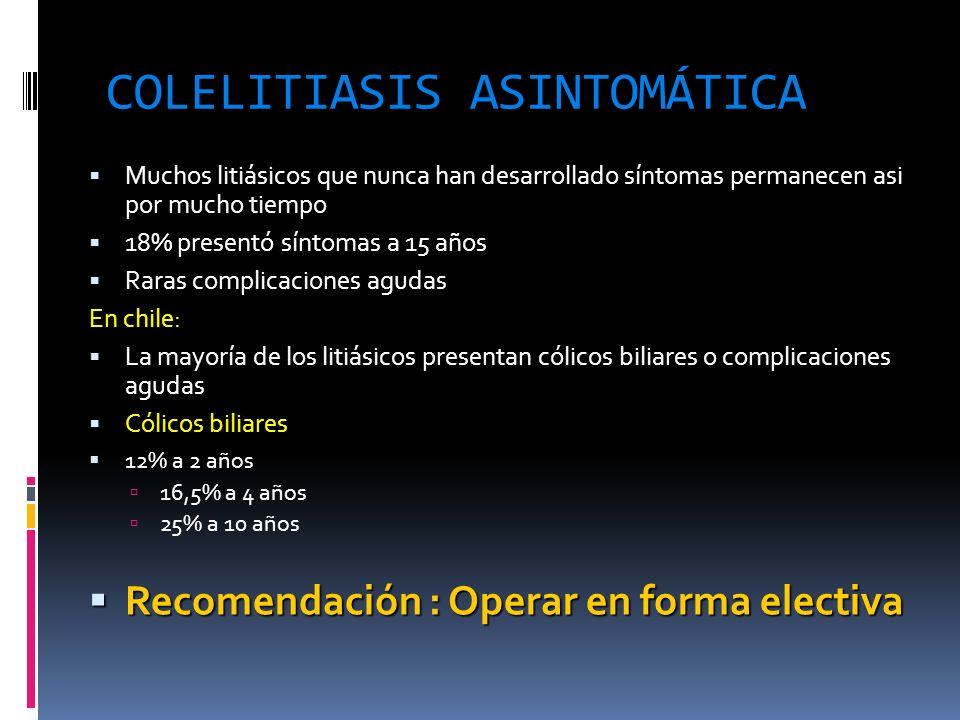 COLELITIASIS ASINTOMÁTICA Muchos litiásicos que nunca han desarrollado síntomas permanecen asi por mucho tiempo 18% presentó síntomas a 15 años Raras