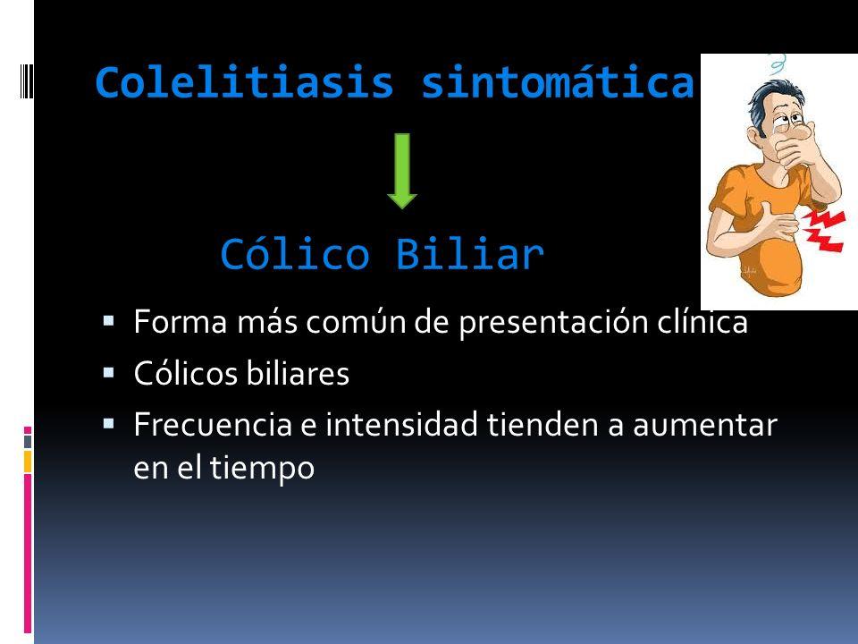 Colelitiasis sintomática Cólico Biliar Forma más común de presentación clínica Cólicos biliares Frecuencia e intensidad tienden a aumentar en el tiemp