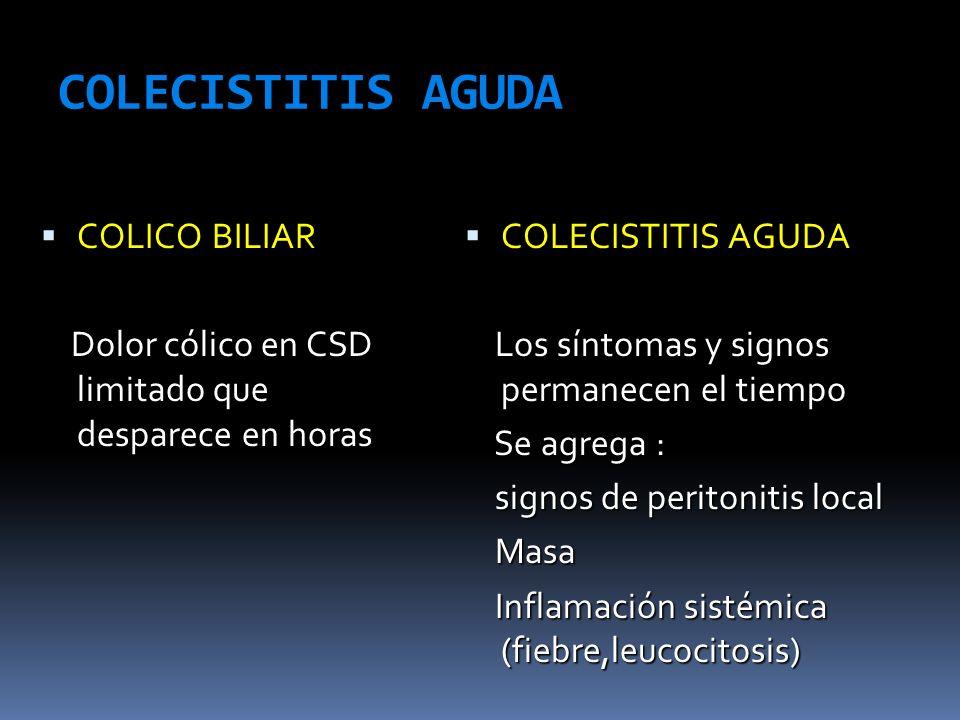 COLECISTITIS AGUDA COLICO BILIAR COLICO BILIAR Dolor cólico en CSD limitado que desparece en horas Dolor cólico en CSD limitado que desparece en horas