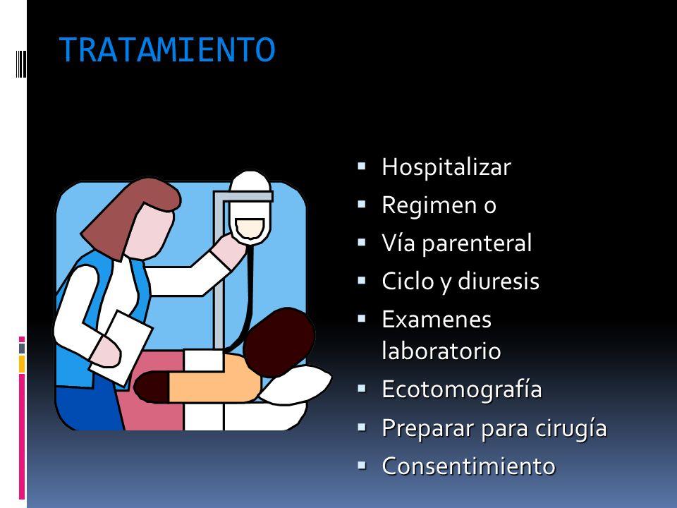 TRATAMIENTO Hospitalizar Hospitalizar Regimen 0 Regimen 0 Vía parenteral Vía parenteral Ciclo y diuresis Ciclo y diuresis Examenes laboratorio Examene
