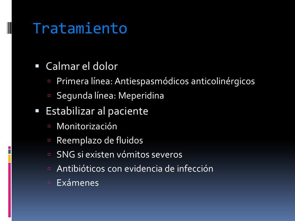 Tratamiento Calmar el dolor Primera línea: Antiespasmódicos anticolinérgicos Segunda línea: Meperidina Estabilizar al paciente Monitorización Reemplaz