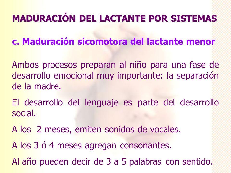 MADURACIÓN DEL LACTANTE POR SISTEMAS c. Maduración sicomotora del lactante menor Ambos procesos preparan al niño para una fase de desarrollo emocional