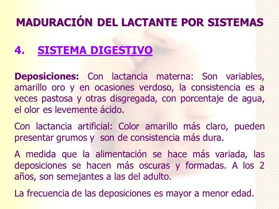 MADURACIÓN DEL LACTANTE POR SISTEMAS 4. SISTEMA DIGESTIVO Deposiciones: Con lactancia materna: Son variables, amarillo oro y en ocasiones verdoso, la