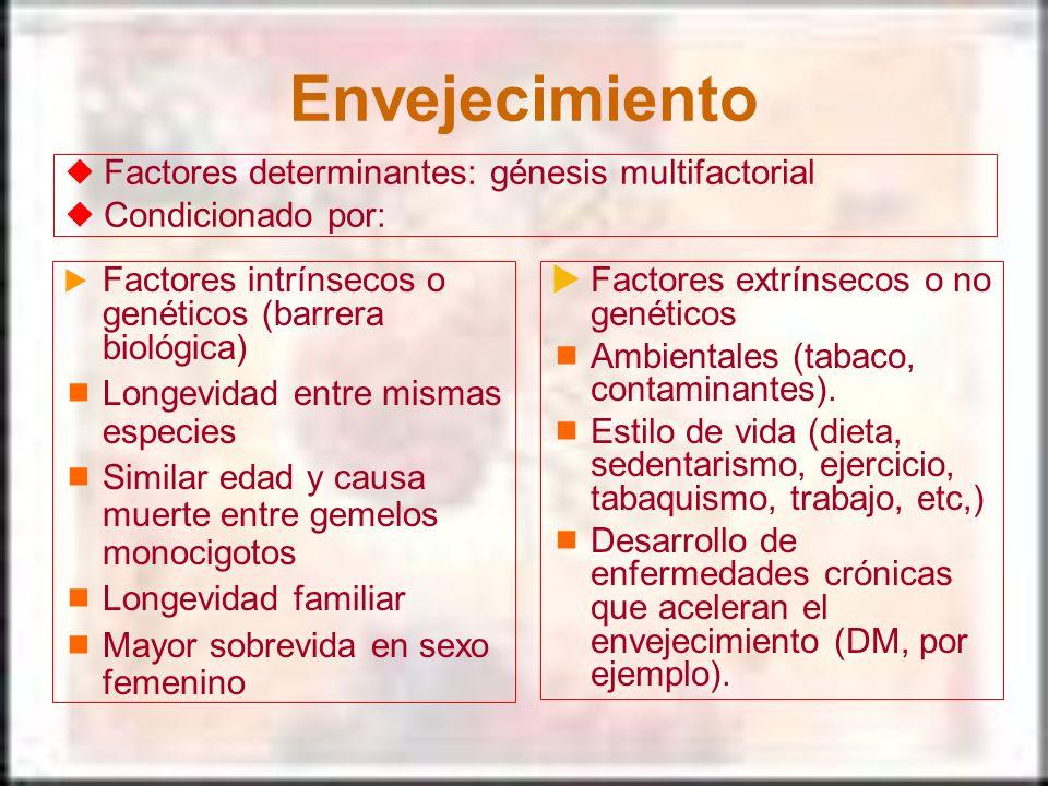 Envejecimiento Factores intrínsecos o genéticos (barrera biológica) Longevidad entre mismas especies Similar edad y causa muerte entre gemelos monocig