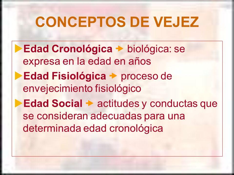 CONCEPTOS DE VEJEZ Edad Cronológica biológica: se expresa en la edad en años Edad Fisiológica proceso de envejecimiento fisiológico Edad Social actitu