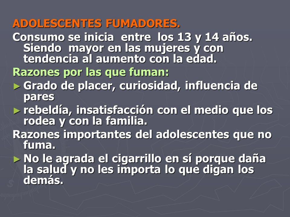 ADOLESCENTES FUMADORES.Consumo se inicia entre los 13 y 14 años.
