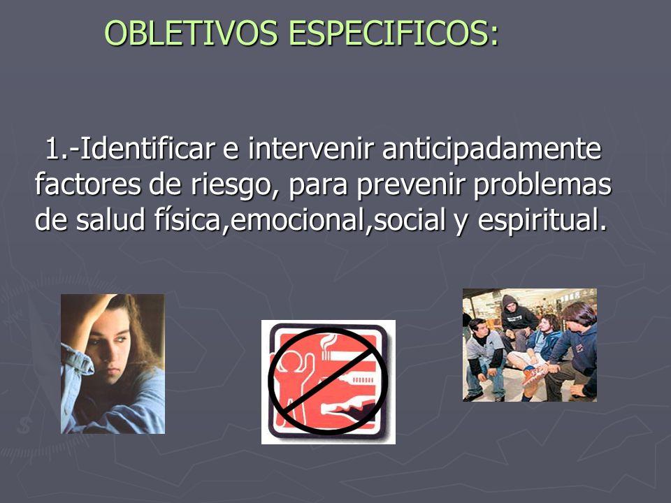OBLETIVOS ESPECIFICOS: 1.-Identificar e intervenir anticipadamente factores de riesgo, para prevenir problemas de salud física,emocional,social y espiritual.