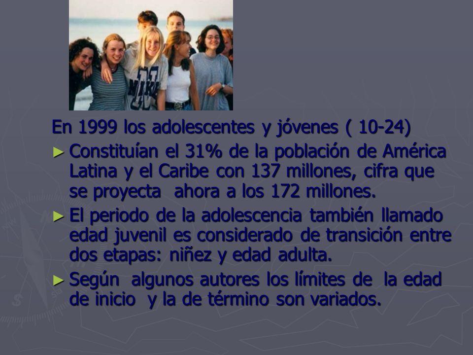 En 1999 los adolescentes y jóvenes ( 10-24) Constituían el 31% de la población de América Latina y el Caribe con 137 millones, cifra que se proyecta ahora a los 172 millones.