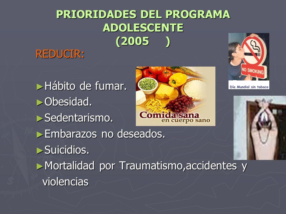 PRIORIDADES DEL PROGRAMA ADOLESCENTE (2005 ) REDUCIR: Hábito de fumar.