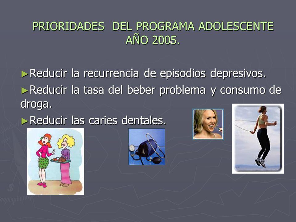 PRIORIDADES DEL PROGRAMA ADOLESCENTE AÑO 2005.Reducir la recurrencia de episodios depresivos.