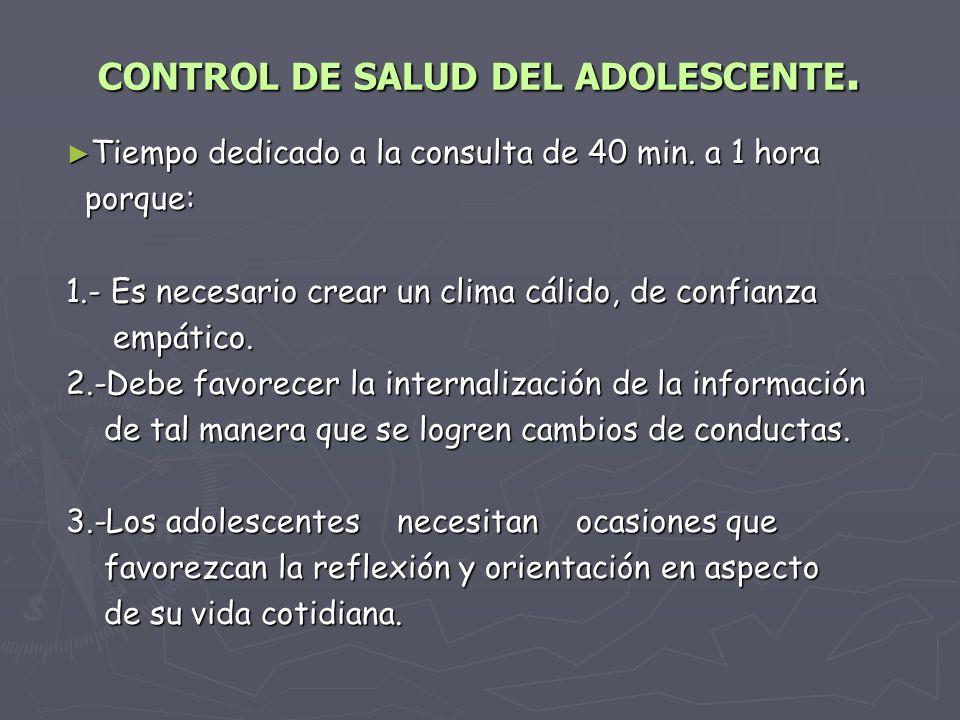 CONTROL DE SALUD DEL ADOLESCENTE.Tiempo dedicado a la consulta de 40 min.