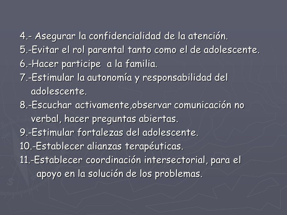 4.- Asegurar la confidencialidad de la atención.