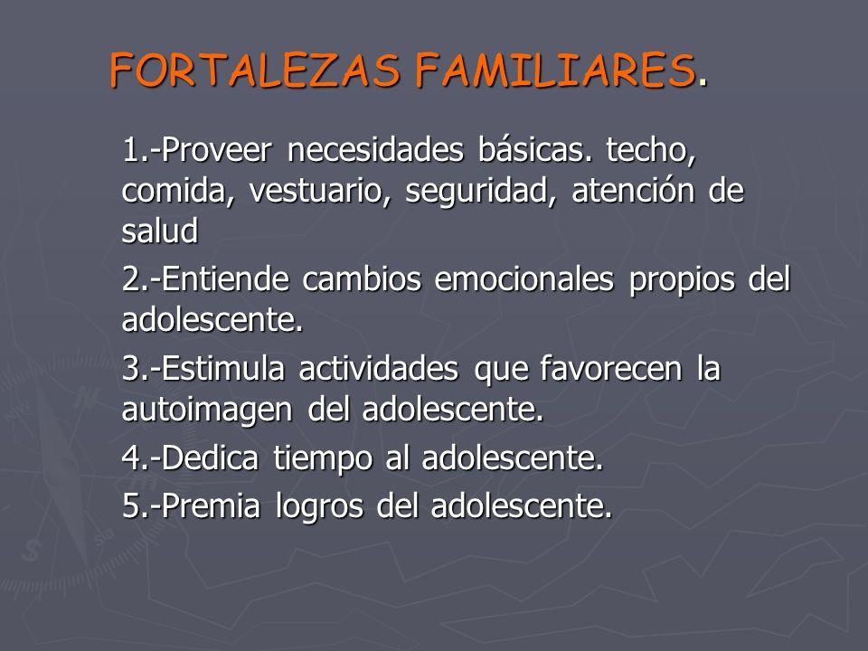 FORTALEZAS FAMILIARES.1.-Proveer necesidades básicas.
