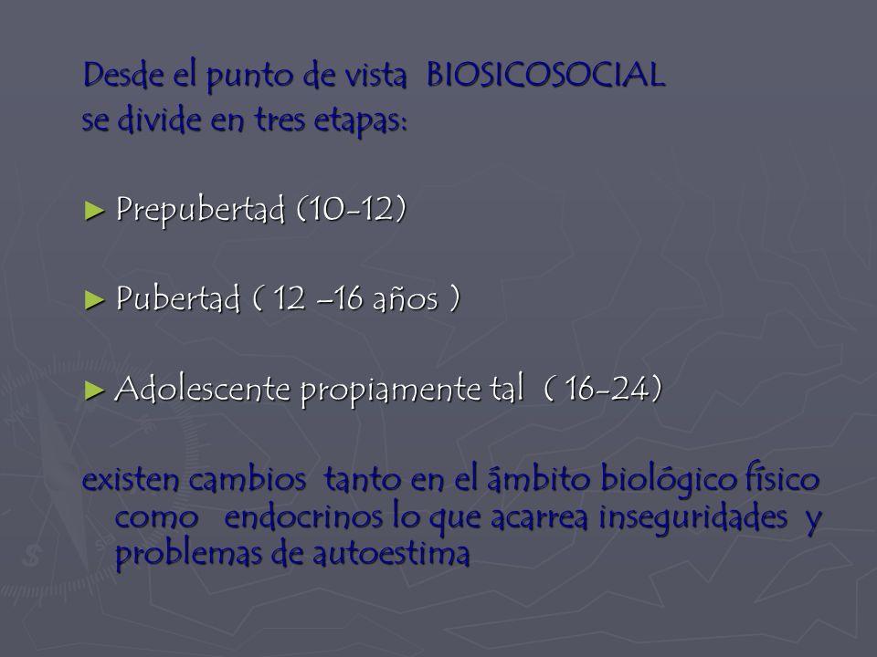 Desde el punto de vista BIOSICOSOCIAL se divide en tres etapas: Prepubertad (10-12) Prepubertad (10-12) Pubertad ( 12 –16 años ) Pubertad ( 12 –16 años ) Adolescente propiamente tal ( 16-24) Adolescente propiamente tal ( 16-24) existen cambios tanto en el ámbito biológico físico como endocrinos lo que acarrea inseguridades y problemas de autoestima