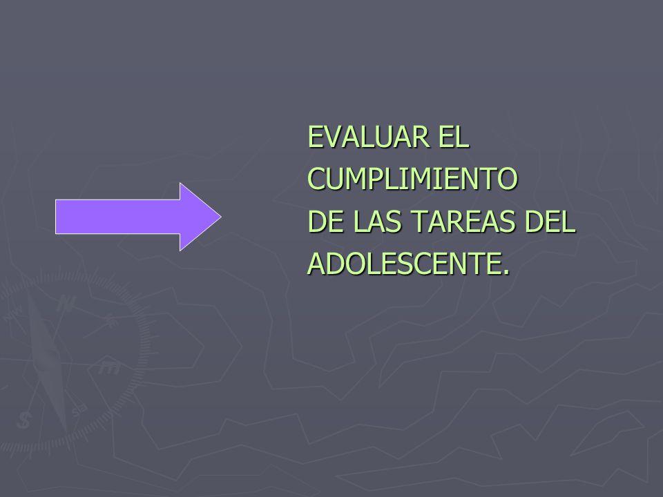 EVALUAR EL EVALUAR EL CUMPLIMIENTO CUMPLIMIENTO DE LAS TAREAS DEL DE LAS TAREAS DEL ADOLESCENTE.