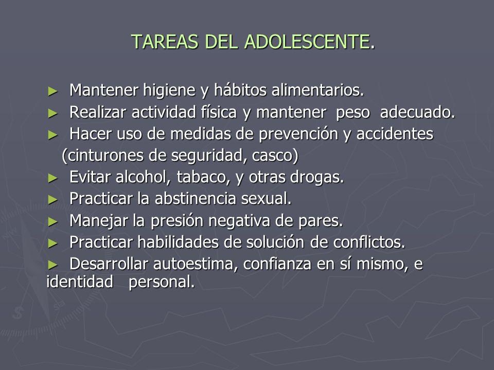 TAREAS DEL ADOLESCENTE.Mantener higiene y hábitos alimentarios.