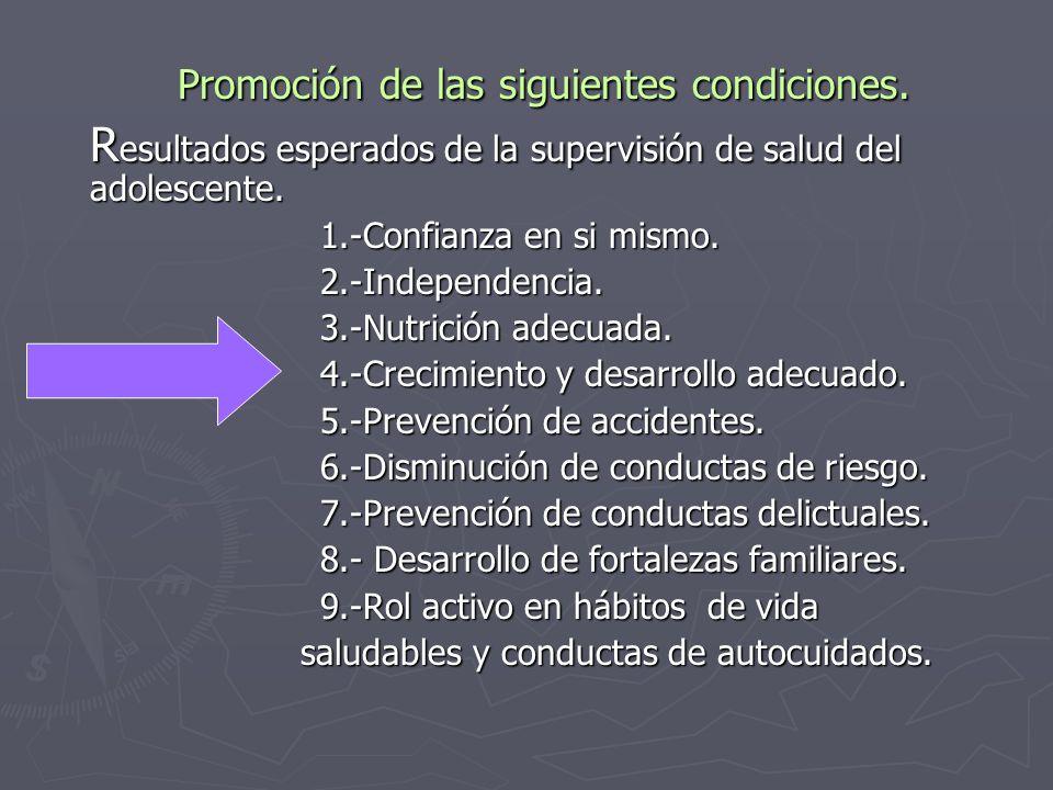 Promoción de las siguientes condiciones.Promoción de las siguientes condiciones.