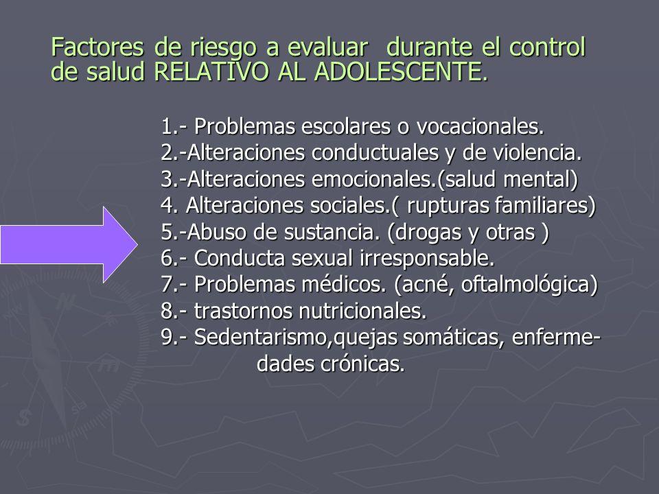 Factores de riesgo a evaluar durante el control de salud RELATIVO AL ADOLESCENTE.