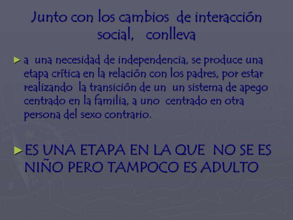 Junto con los cambios de interacción social, conlleva a una necesidad de independencia, se produce una etapa crítica en la relación con los padres, por estar realizando la transición de un un sistema de apego centrado en la familia, a uno centrado en otra persona del sexo contrario.