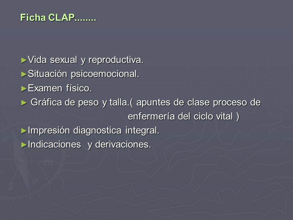Ficha CLAP........Vida sexual y reproductiva. Vida sexual y reproductiva.