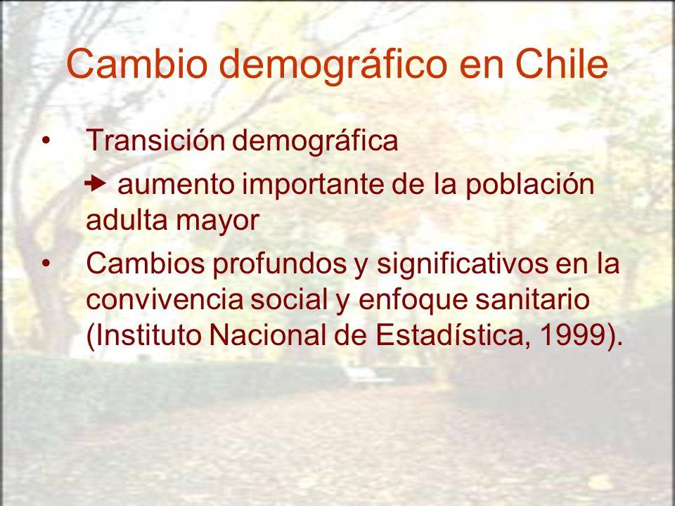 Cambio demográfico en Chile Transición demográfica aumento importante de la población adulta mayor Cambios profundos y significativos en la convivenci