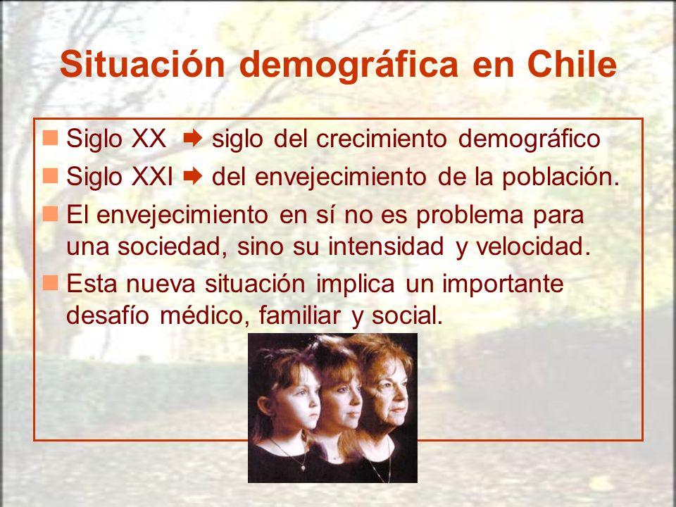 Situación demográfica en Chile Siglo XX siglo del crecimiento demográfico Siglo XXI del envejecimiento de la población. El envejecimiento en sí no es