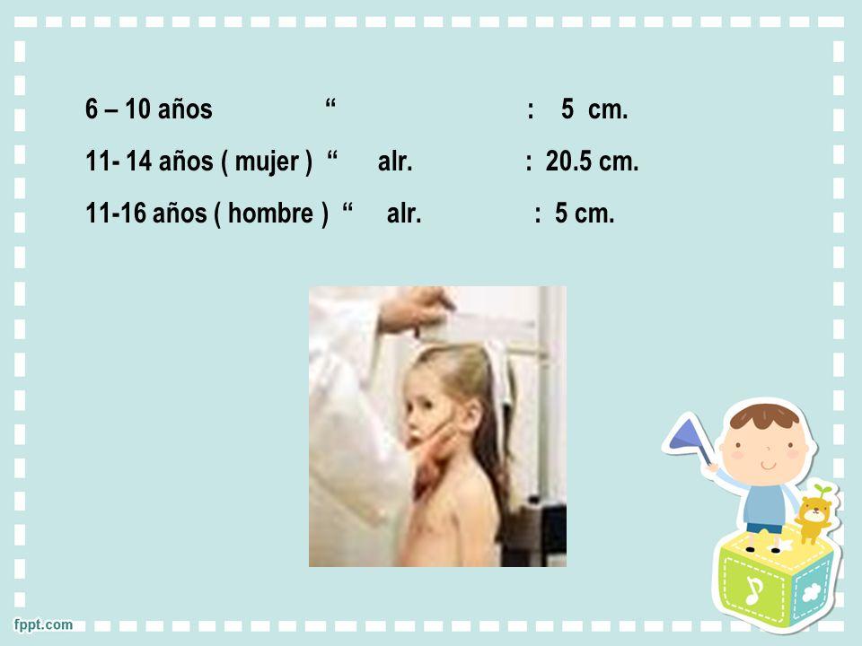 6 – 10 años : 5 cm. 11- 14 años ( mujer ) alr. : 20.5 cm. 11-16 años ( hombre ) alr. : 5 cm.