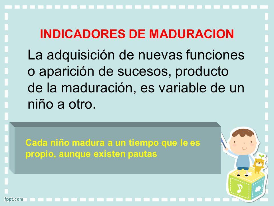 INDICADORES DE MADURACION La adquisición de nuevas funciones o aparición de sucesos, producto de la maduración, es variable de un niño a otro. Cada ni