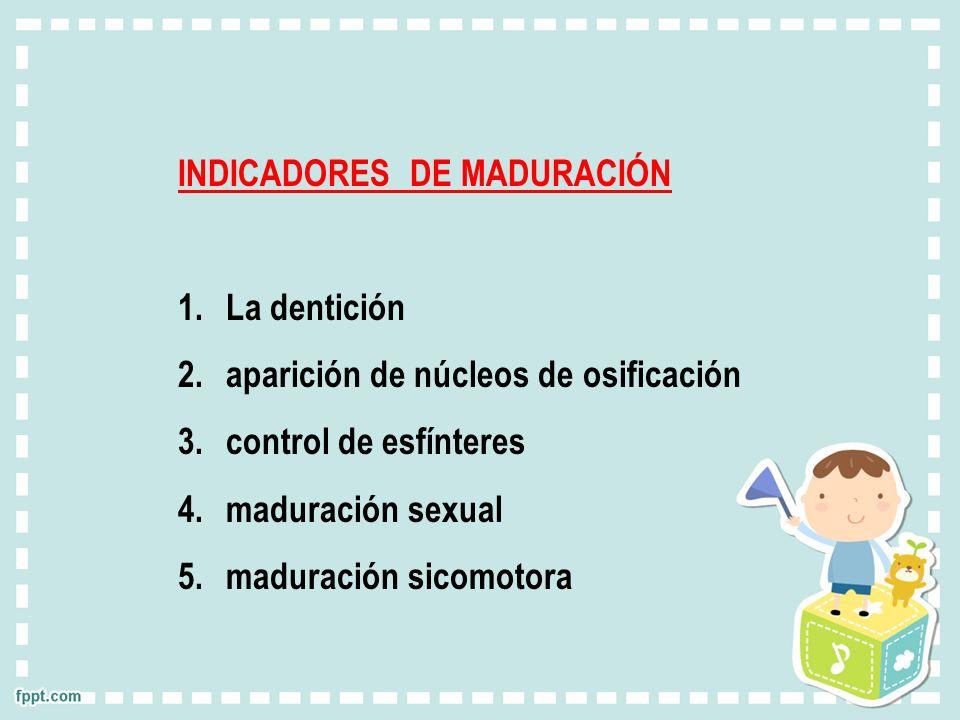 INDICADORES DE MADURACIÓN 1.La dentición 2.aparición de núcleos de osificación 3.control de esfínteres 4.maduración sexual 5.maduración sicomotora