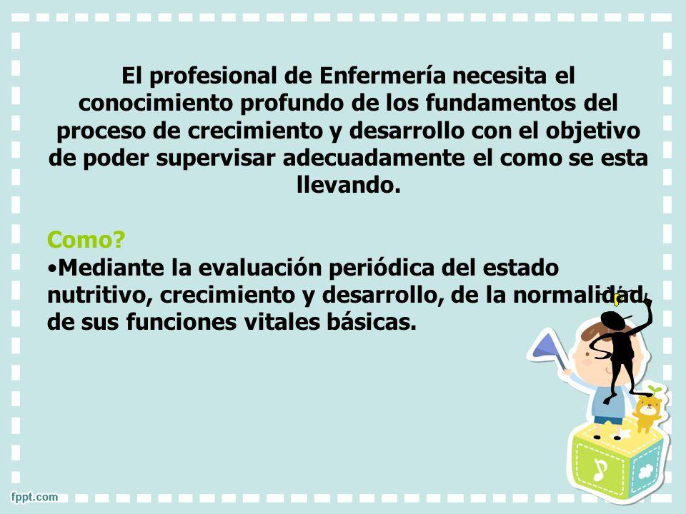 El profesional de Enfermería necesita el conocimiento profundo de los fundamentos del proceso de crecimiento y desarrollo con el objetivo de poder sup