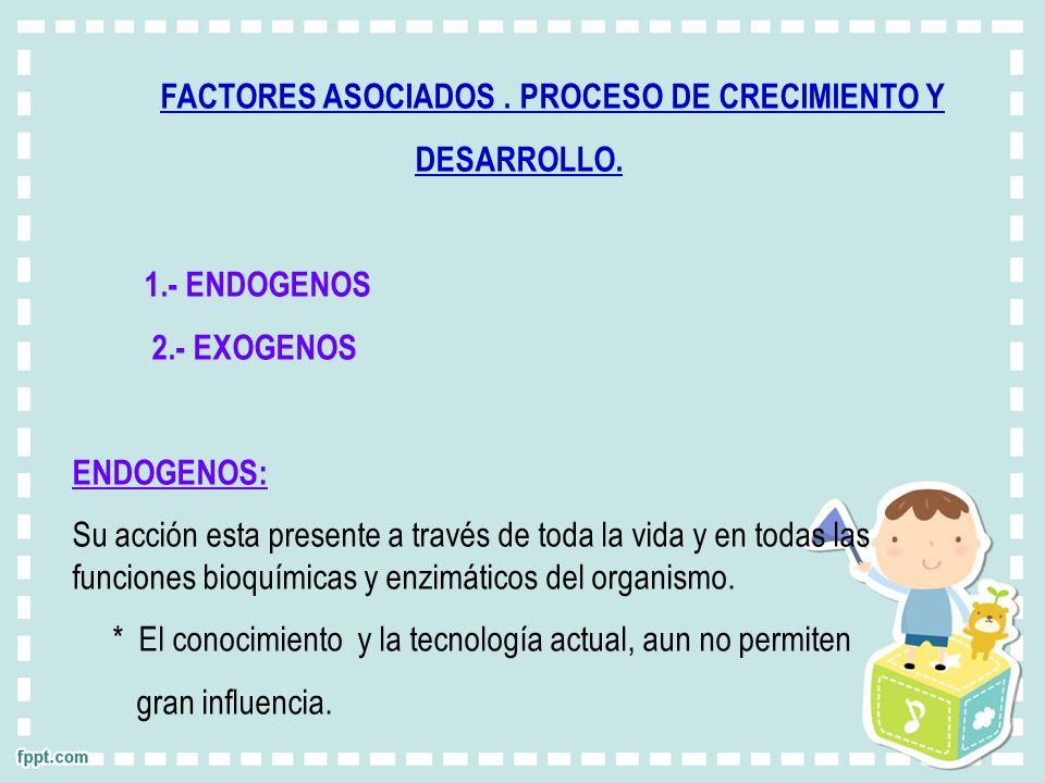 FACTORES ASOCIADOS. PROCESO DE CRECIMIENTO Y DESARROLLO. 1.- ENDOGENOS 2.- EXOGENOS ENDOGENOS: Su acción esta presente a través de toda la vida y en t